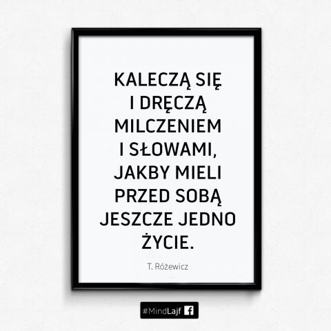 ``Kaleczą się i dręczą milczeniem i słowami, jakby mieli przed sobą jeszcze jedno życie.`` - T. Różewicz #MindBuzz o uważności w byciu z drugim człowiekiem